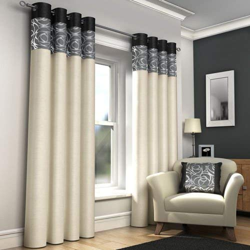 Mirabel Pair Of Skye Lined Window Curtain Panels Drapes With Grommet Eyelet Top 90