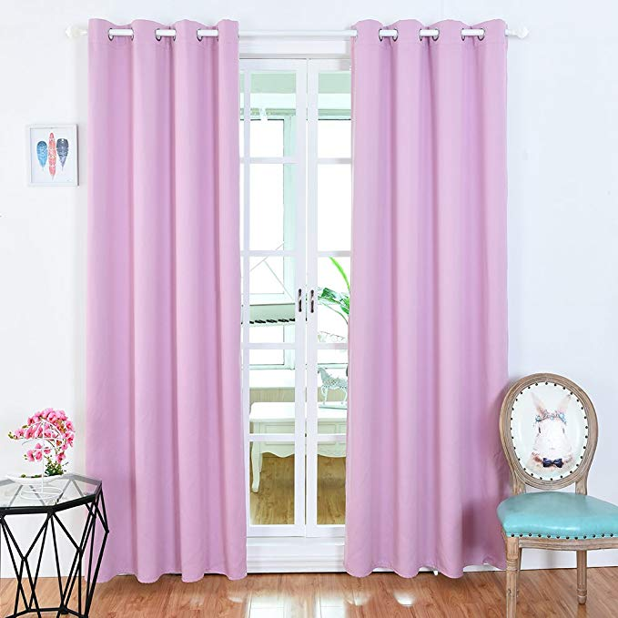 BOBLANCA Thermal Insulated Blackout Curtains Grommet Top Room Darkening Curtains for Bedroom 52X95 Inch Pink 2 Panels