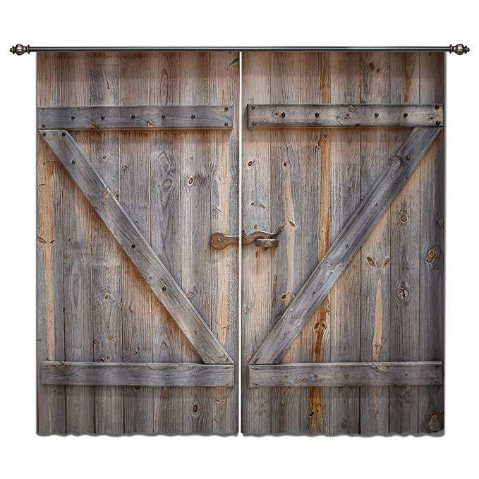 LB Rustic Barn Door Window Curtains for Living Room Bedroom,Vintage Wooden Farmhouse Door Decor Teen Kids Room Darkening Blackout Curtains Drapes 2 Panels,42 x 63 Inches