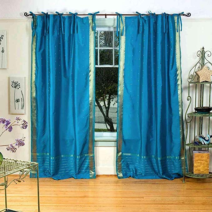 Lined-Turquoise Tie Top Sheer Sari Curtain / Drape - 80W x 108L - Piece
