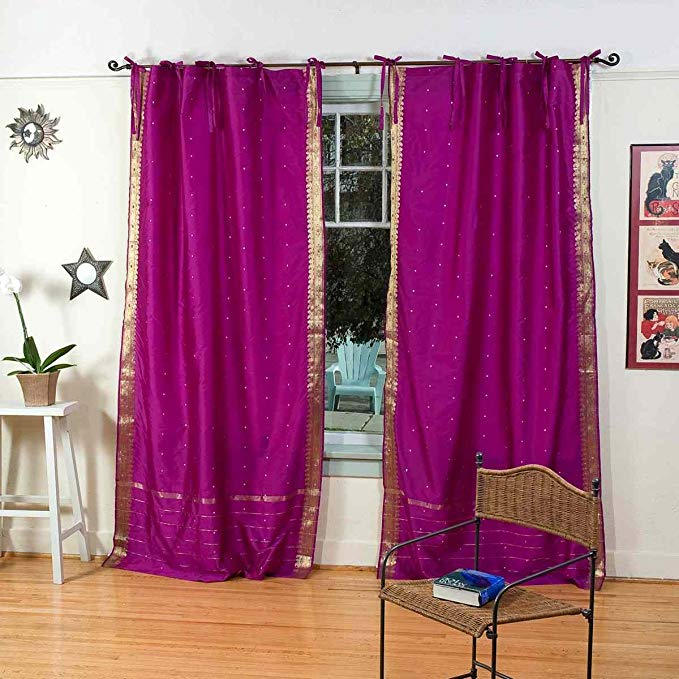 Lined-Violet Red Tie Top Sheer Sari Curtain / Drape - 43W x 108L - Pair