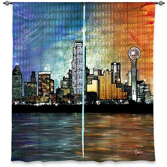 DiaNoche Designs Window Curtains Lined from Unique, Decorative, Funky, Cool by Corina Bakke - Dallas Skyline