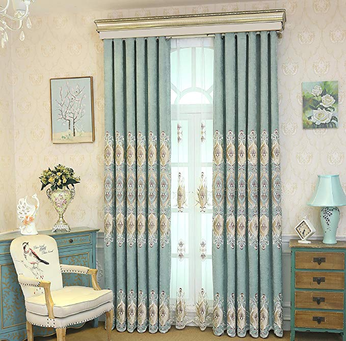 pureaqu Blackout Curtains 96 Inch Long Grommet Thermal Insulated Embroidered Window Curtain Drapes For Living Room Bedroom Energy Saving/Noise Reducing Room Divider 1 Panel W75 x H96 Inch